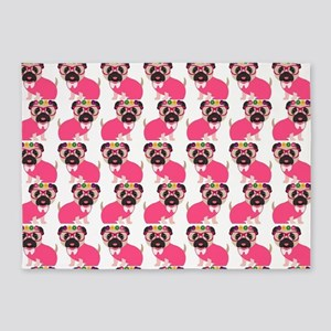 Pug in Pink 5'x7'Area Rug