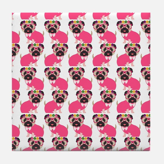 Pug in Pink Tile Coaster