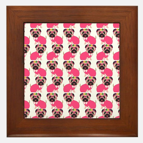 Pug in Pink Framed Tile