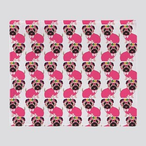 Pug in Pink Throw Blanket