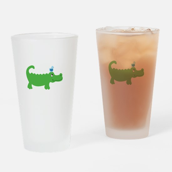 Preppy Green Alligator Drinking Glass
