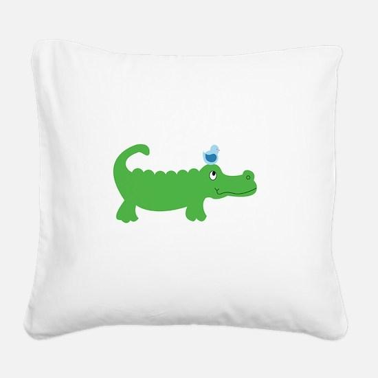 Preppy Green Alligator Square Canvas Pillow