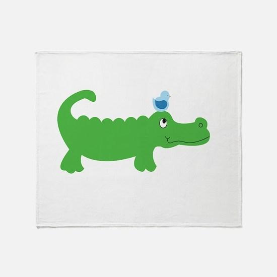Preppy Green Alligator Throw Blanket