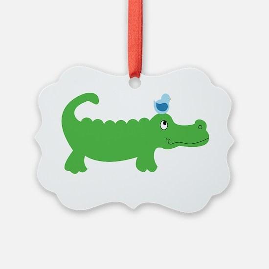 Preppy Green Alligator Ornament
