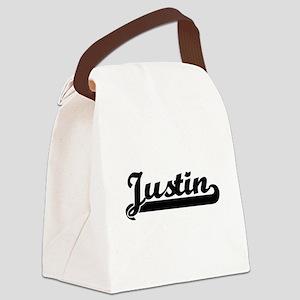 Justin Classic Retro Name Design Canvas Lunch Bag