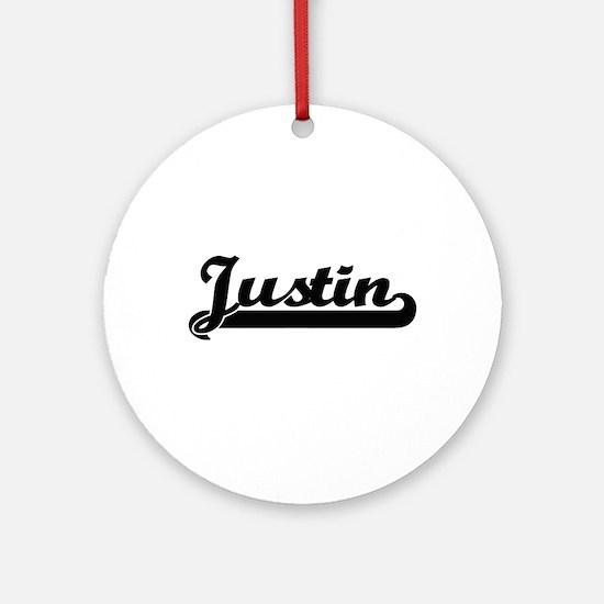 Justin Classic Retro Name Design Ornament (Round)