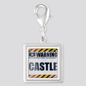 Warning: Castle Silver Square Charm
