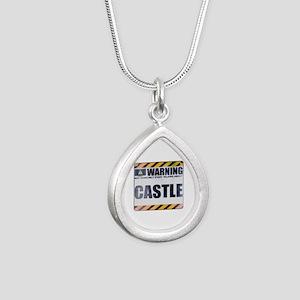 Warning: Castle Silver Teardrop Necklace