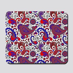 Red, white and blue paisley Mousepad