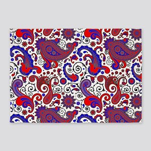 Red, white and blue paisley 5'x7'Area Rug