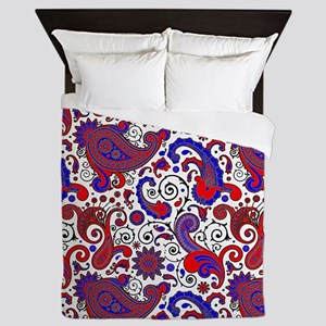 Red, white and blue paisley Queen Duvet