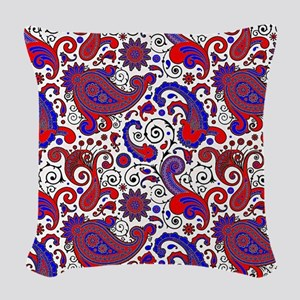 Red, white and blue paisley Woven Throw Pillow