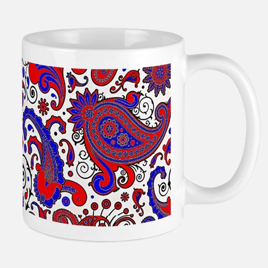 Red, white and blue paisley Mugs