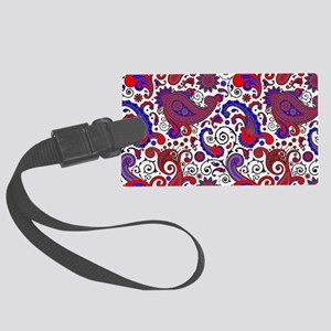 Red, white and blue paisley Large Luggage Tag