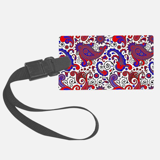 Red, white and blue paisley Luggage Tag