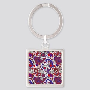 Red, white and blue paisley Keychains