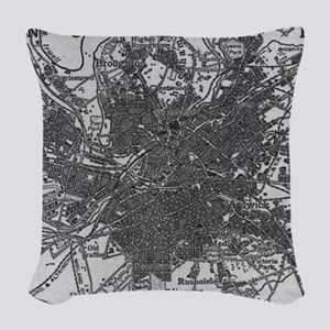 Vintage Map of Manchester Engl Woven Throw Pillow