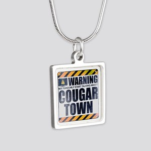 Warning: Cougar Town Silver Square Necklace