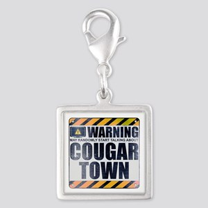 Warning: Cougar Town Silver Square Charm