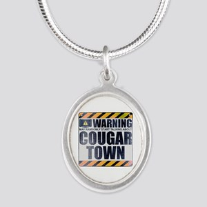 Warning: Cougar Town Silver Oval Necklace