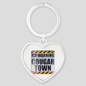 Warning: Cougar Town Heart Keychain