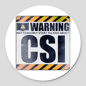 Warning: CSI Round Car Magnet