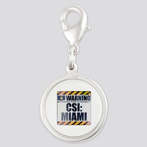 Warning: CSI: Miami Silver Round Charm
