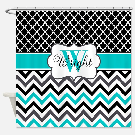 Black Teal Quatrefoil Chevron Personalized Shower