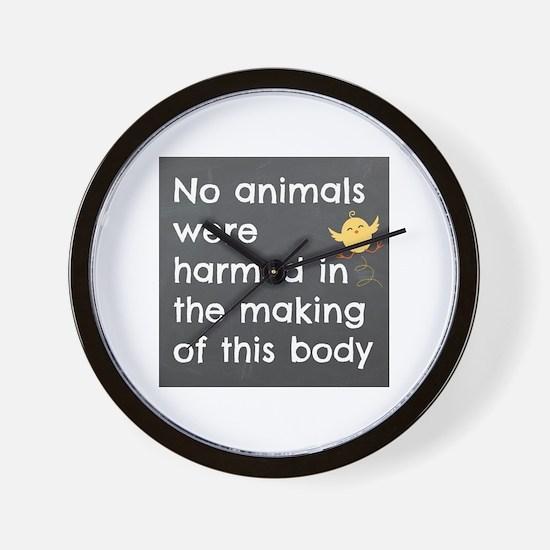 No Animals. Vegan Wall Clock