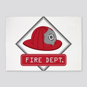 Fire Hat Decal 5'x7'Area Rug
