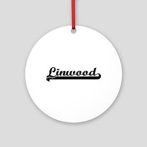 Linwood Classic Retro Name Design Ornament (Round)