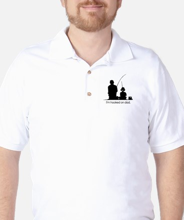 Hooked on Dad Fishing Pier Golf Shirt