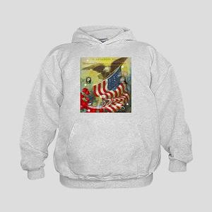 Vintage patriotic theme Kids Hoodie