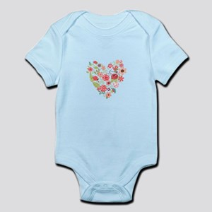 Chic Peach Coral Floral Heart Body Suit