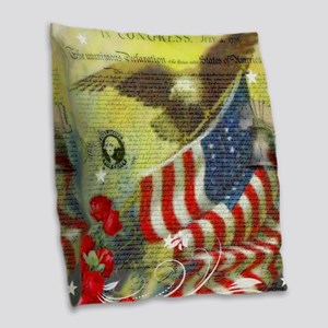 Vintage patriotic theme Burlap Throw Pillow
