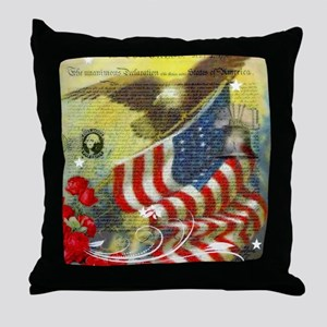 Vintage patriotic theme Throw Pillow