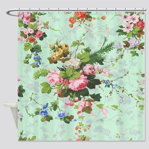 vintage, floral, roses, antique, ro Shower Curtain