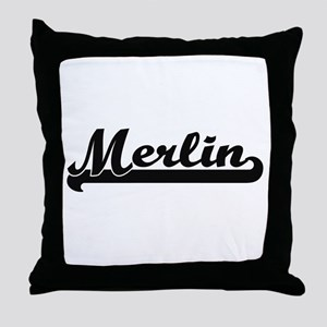 Merlin Classic Retro Name Design Throw Pillow