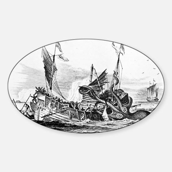 Vintage kraken octopus sea monster  Sticker (Oval)