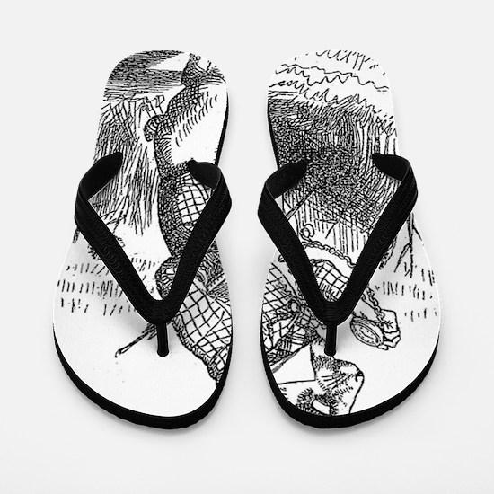 Vintage Alice in Wonderland white rabbi Flip Flops