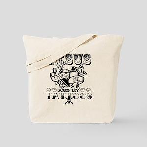 JESUS LOVES ME AND MY TATTOOS Tote Bag