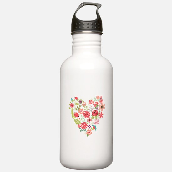 Chic Peach Coral Flora Sports Water Bottle