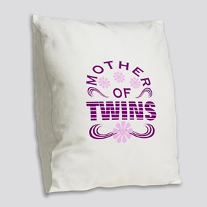 Twins mom Burlap Throw Pillow