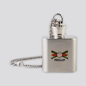Baseball (p) Flask Necklace