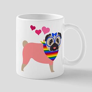 Gay Pride Pug with Hearts Mug
