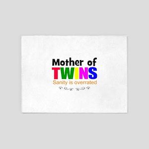 crazy mom of twins 5'x7'Area Rug