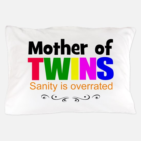 crazy mom of twins Pillow Case