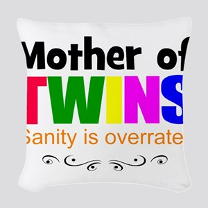 crazy mom of twins Woven Throw Pillow