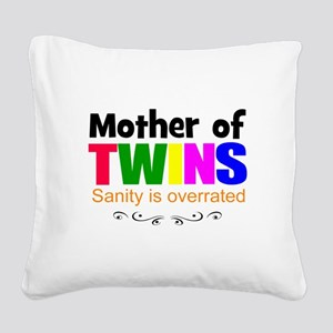 crazy mom of twins Square Canvas Pillow