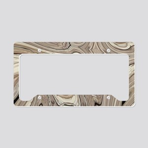 rustic brown swirls marble License Plate Holder